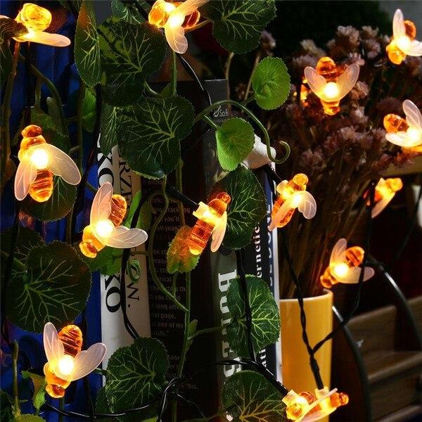 שרשרת אורות 10 מ' עם 50 נורות לד סולריות בעיצוב דבורים