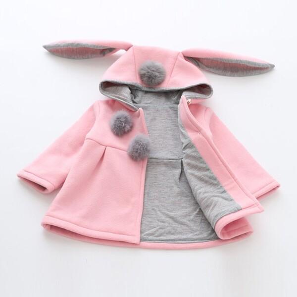 מעיל תינוקות אוזני ארנבת לבנות