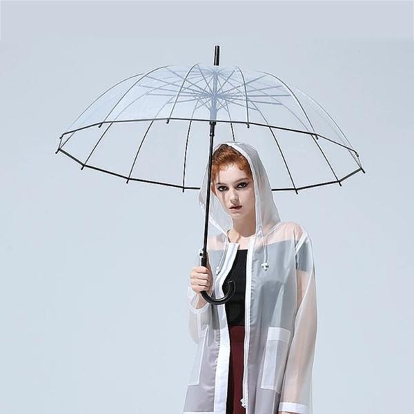 מטרייה גדולה שקופה חצי אוטומטית