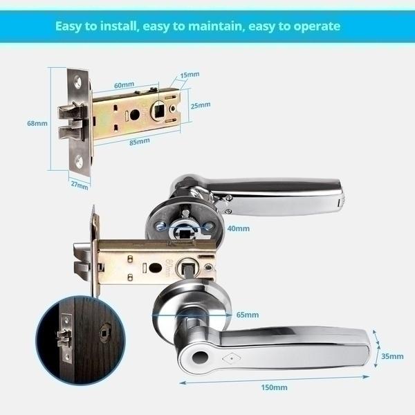 ידית דלת חכמה עם מנגנון טביעת אצבע