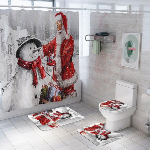סט וילון מקלחת כריסמס