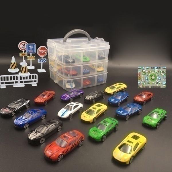 סט 18 מכוניות משחק קטנות בארגז
