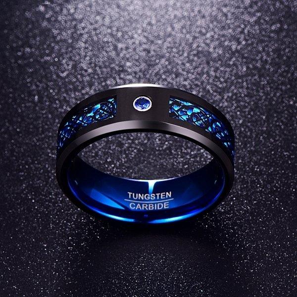 טבעת לגבר טונגסטן דרקון שחור