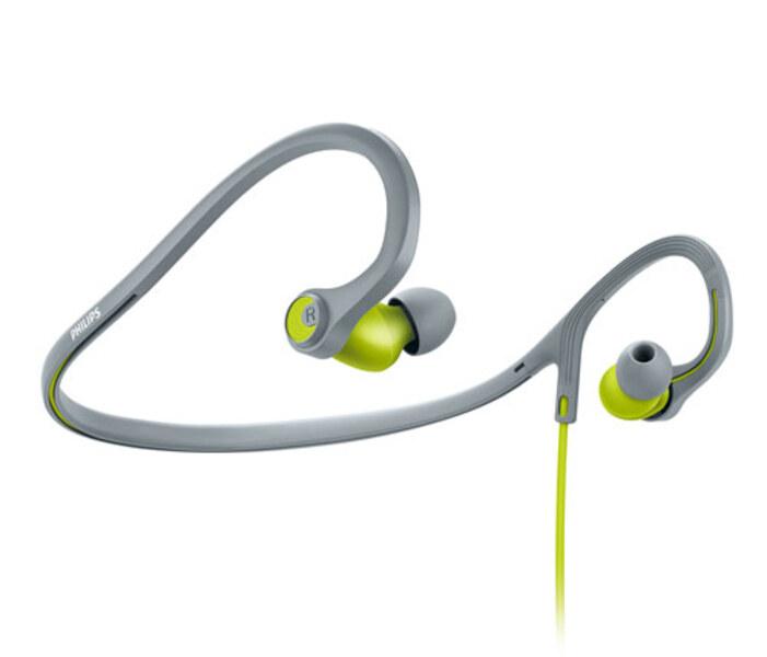 אוזניות ספורט פיליפס SHQ4300LF בצבע אפור צהוב