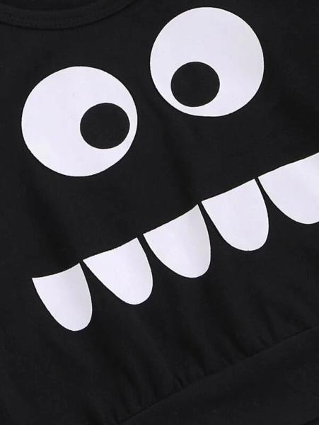 חליפת גן גרפית שחורה לפעוטות