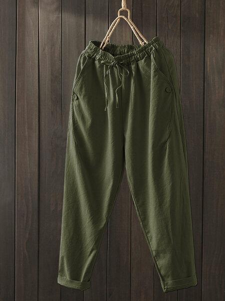 מכנס נשים מידות גדולות בצבע ירוק צבאי