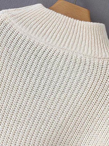 סוודר צווארון קולר בצבע לבן