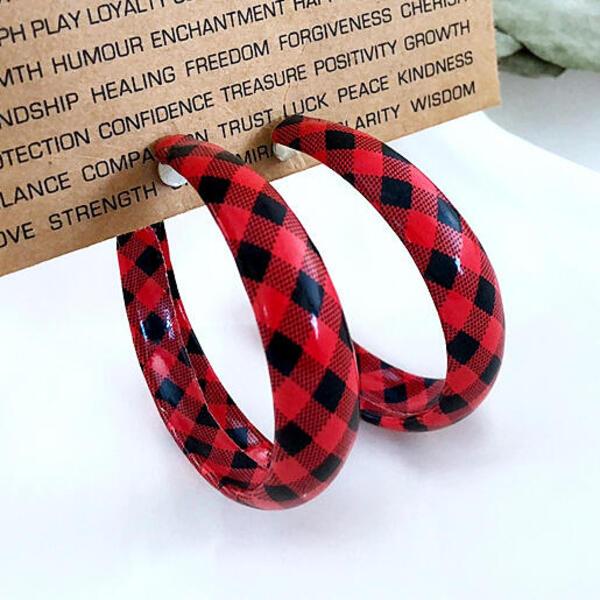 עגילי חישוק משובצות- צבע אדום