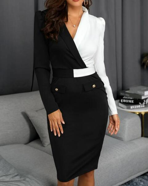 שמלת מידי צמודה שחור- לבן