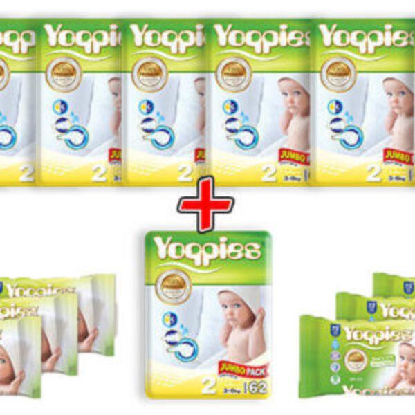 מארז 8 חבילות חיתולי פרימיום Yoppies, כולל מגבונים
