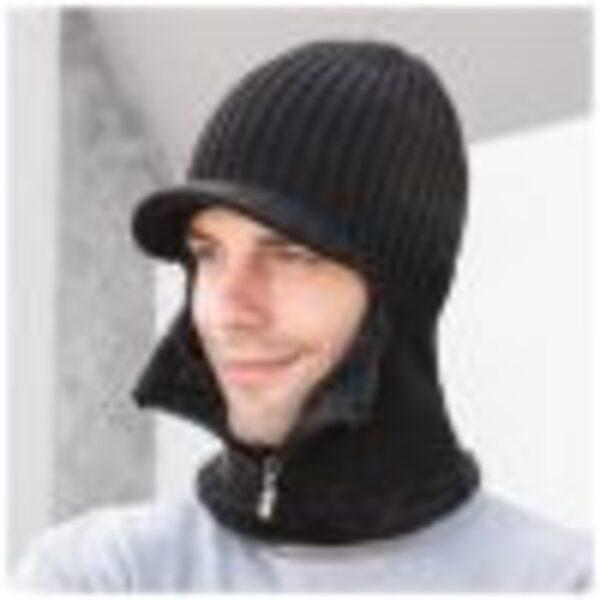 כובע צמר עם צעיף לגבר