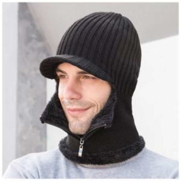 כובע צמר מצחייה עם חם-צוואר