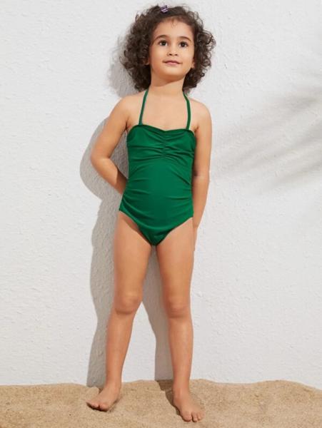 בגד ים שלם לילדות צבע ירוק חלק