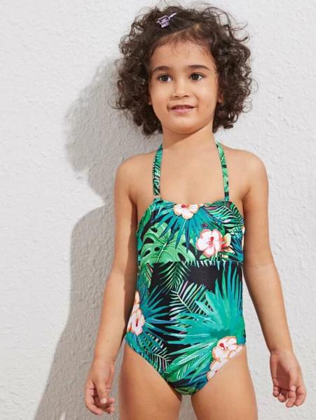 בגד ים שלם לילדות בסגנון טרופי
