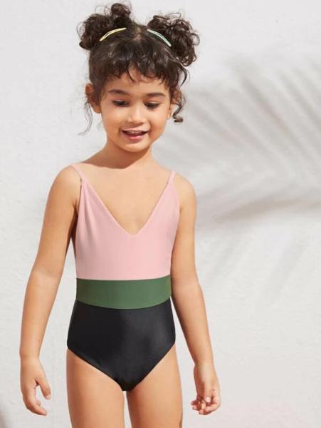 בגד ים שלם לילדות משולב צבעים