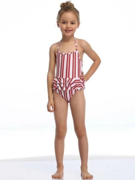 בגד ים שלם לילדות בסגנון פסים