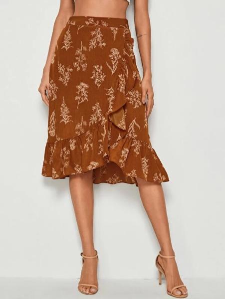 חצאית מידי פרחונית בצבעי אדמה