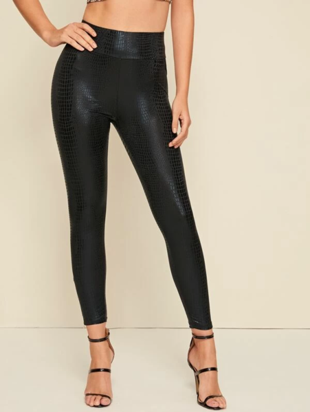 מכנסי סקיני נשים בסגנון עור תנין