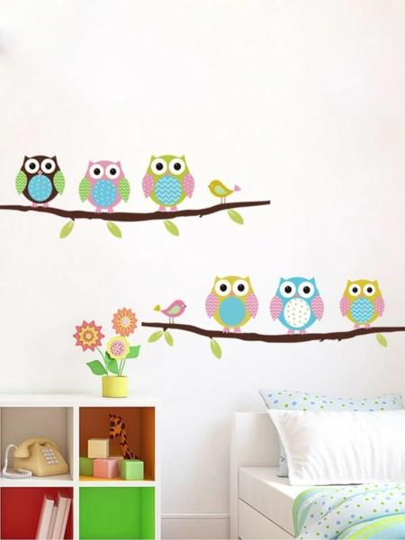 מדבקות קיר לחדרי ילדים: דגם ינשופים