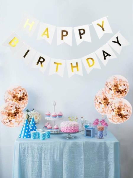 סט קישוטים ליום הולדת: 5 בלונים+ כרזת דגלים HAPPY BIRTHDAY