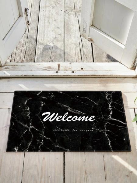 שטיח כניסה לדלת הבית בהדפסה בסגנון שיש