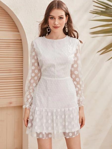 שמלה שוויצרית עם שרוולי רשת