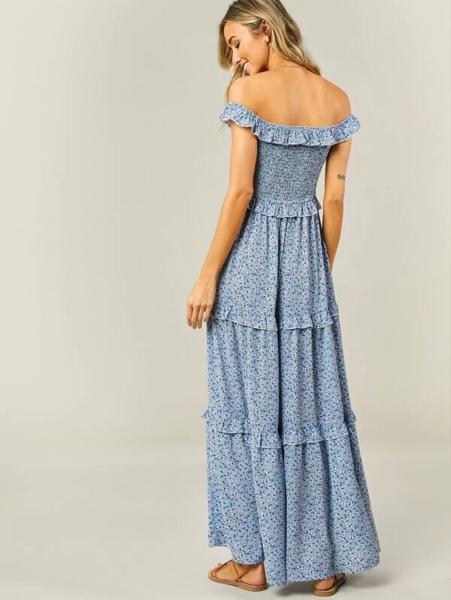 שמלת מקסי בשכבות דיטי פרחונית