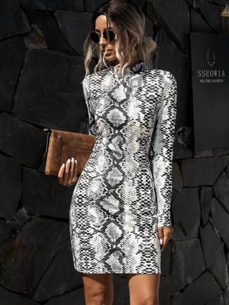 שמלת מיני עם הדפס עור נחש