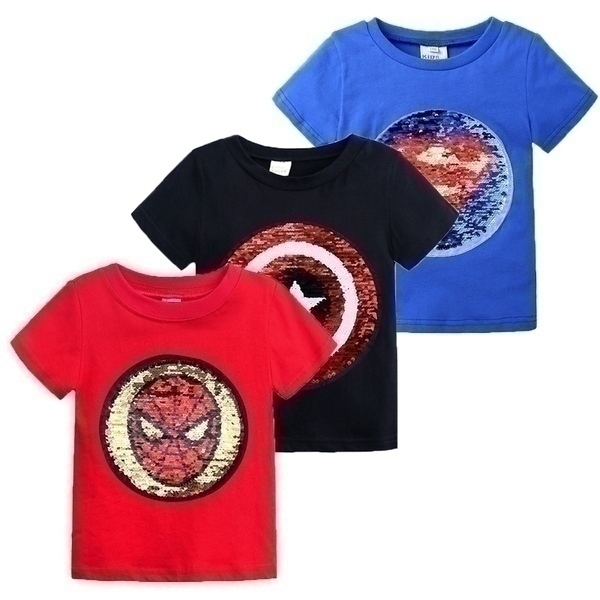 חולצות טי קצרות פאייטים גיבורי על לילדים