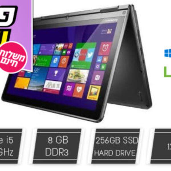 מחשב נייד לנובו LENOVO עם מסך מגע מתהפך 12.5 אינץ'