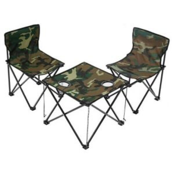 סט קמפינג שולחן ו-2 כיסאות מתקפלים