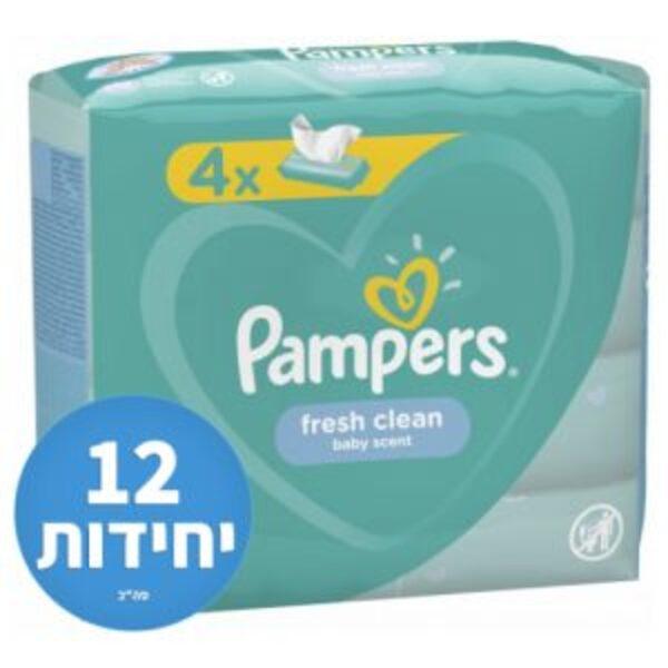 מארז הכולל 12 חבילות (3 מארזים של 4 יחידות) מגבוני Pampers בניחוח מרענן