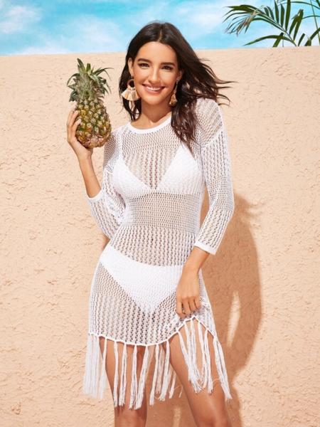 שמלת רשת חוף סקסית עם פרנזים